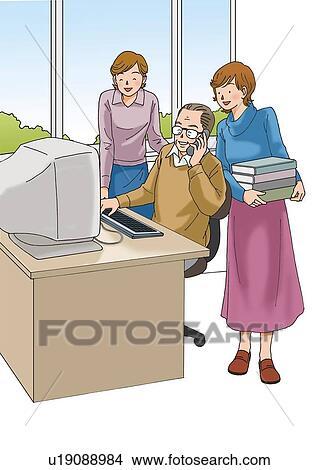 Dibujos - adulto mayor, hombre, y, adulto joven, mujeres ...