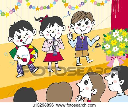 stock illustration children playing music in school play painting illustration illustrative technique - Images Of Children Playing At School