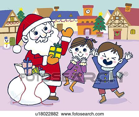 clip art santa claus giving presents to children painting illustration illustrative technique - Santa Claus Presents
