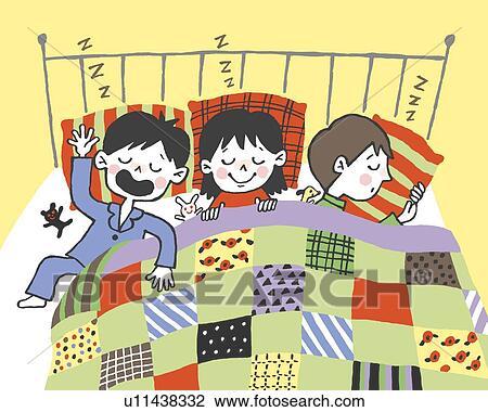 Gemälde clipart  Clip Art - kindern, eingeschlafen, gemeinsam, gemälde, abbildung ...
