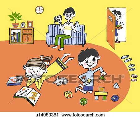 Clipart Of Family Relaxing In A Living Room Painting