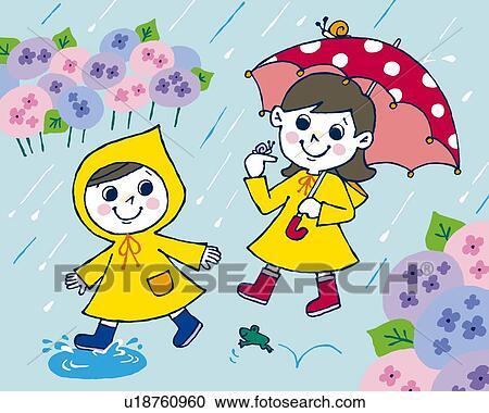 Gemälde clipart  Stock Illustrationen - kindern, in, regen, gemälde, abbildung ...