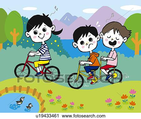 Clipart Children Drawing Clipart Children Cycling