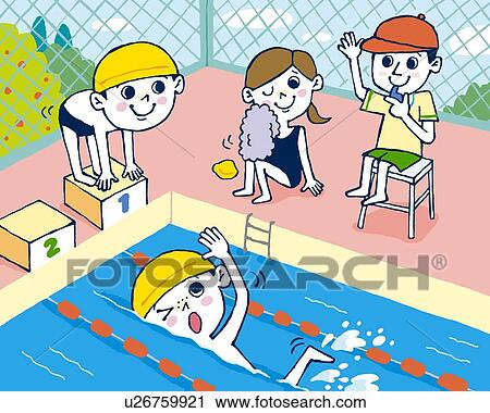 Clipart Children Drawing Clipart Children Swimming