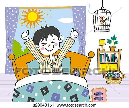 Clipart - Boy waking u...