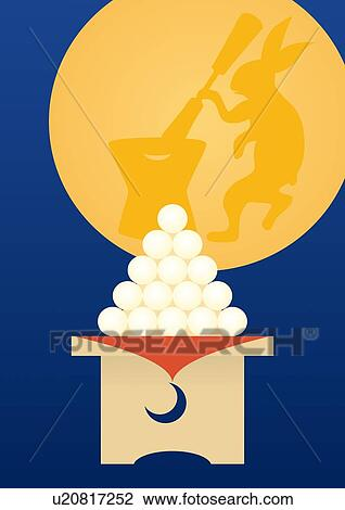 Rice Cake Clip Art : Clip Art of Full Moon and Rice Cakes, Painting ...