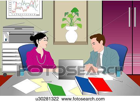 clipart deux personnes avoir conversation dans une bureau u30281322 recherchez des. Black Bedroom Furniture Sets. Home Design Ideas