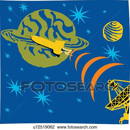 Clip Art - Satellite emitting signals in space with rocket and planet. Fotosearch - Search Clipart, Illustration Posters, Drawings, and EPS Vector Graphics Images