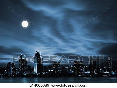 Futuristic City Skyline Night Night Skyline of Futuristic