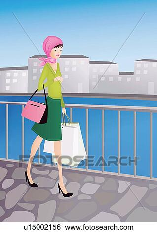Walking with her shopping bags in a cityscape view large illustration