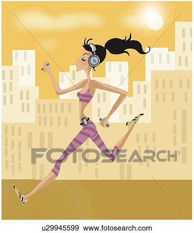 Running with Headphones Clip Art