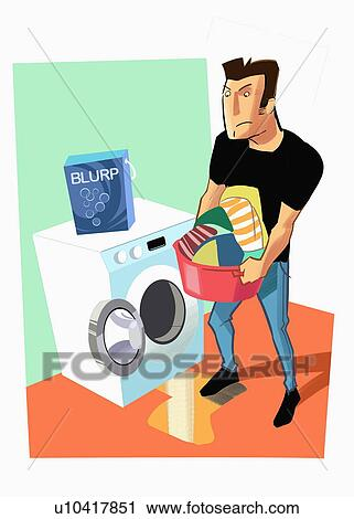 Clipart of Man emptying washing machine of laundry ...