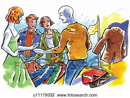 Clip Art of Three shoppers and a salesperson in a clothing store ...