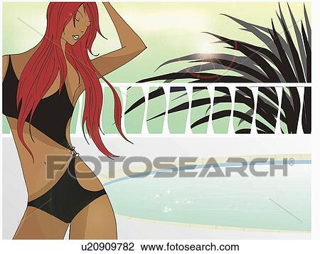 Clip Art of Redhead by pool in a fashionable one-piece ...