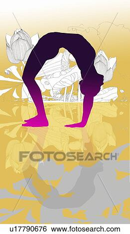 Yoga wheel pose fotosearch search clip art drawings fine art