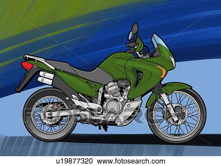 Stock Illustration   Dark Green Super Enduro Motorbike With Blue And Green  Background. Fotosearch