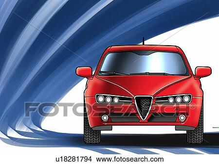 Drawing   Red Sports Car With Blue And White Background. Fotosearch    Search Clip Art