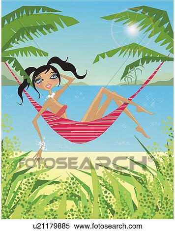 Stock Illustration Of Woman Relaxing On A Hammock By The Beach