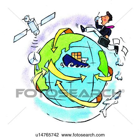Clip Art of earth, trade, communication, business ...