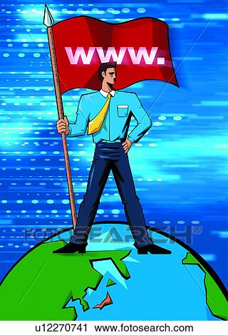Clipart of flag  digital  earth  information technology  internet    Information Technology Clipart
