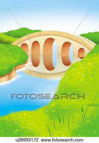 clip art of river green grass bridge stream water