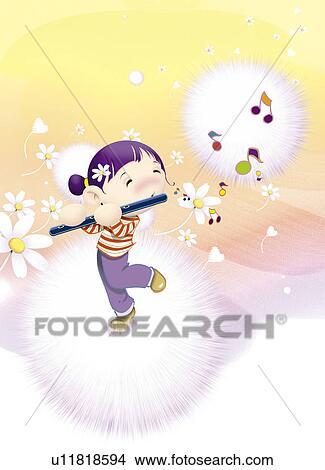 卡通可爱美丽小女孩