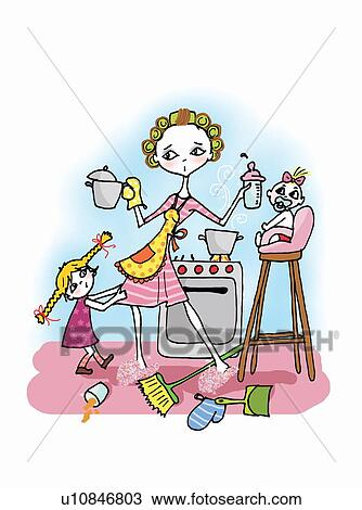 Kitchen Drawing For Kids drawing of woman in kitchen with two kids, cooking u10846803