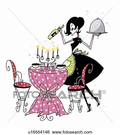 Stock Illustration Of Woman Preparing Table For Dinner For