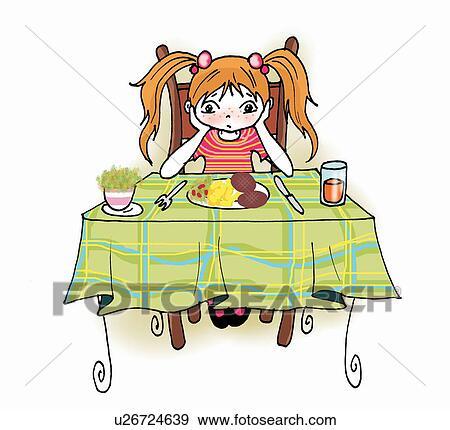 Esstisch clipart  Stock Illustration - mädchen, sitzen, an, eßtisch u26724639 ...