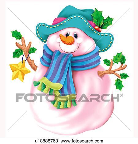 Clipart bonhomme de neige chapeau et charpe u18888763 recherchez des clip arts des - Clipart bonhomme de neige ...