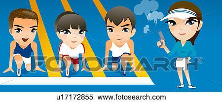 Boy running track clipart