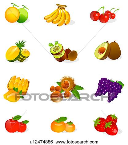 Stock Illustration of Different types of fruits u12474886 - Search ...