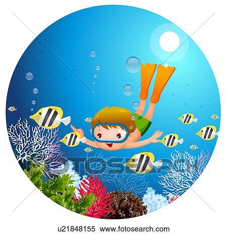 Stock Illustration Of Boy Swimming Underwater U21848155