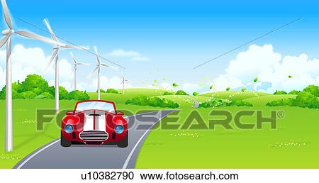 Stock Illustrations Of Car Moving On The Road U10382790