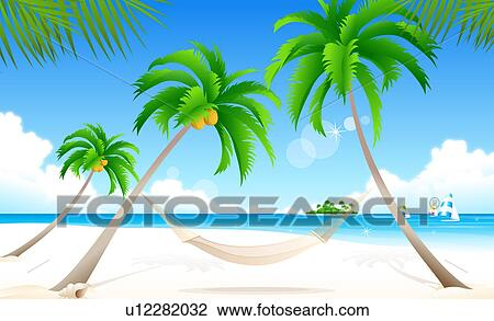 Clip Art Of Hammock Suspended Between Two Palm Trees On The Beach