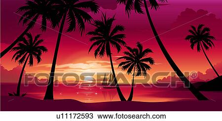 Drawing Of Silhouette Palm Trees At Sunset U11172593