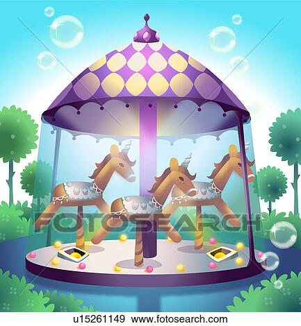 Stock illustration of carousel in a pond u15261149 for Carousel wall mural