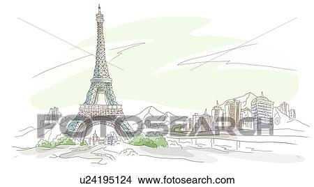 drawing low angle view of a tower eiffel tower paris france