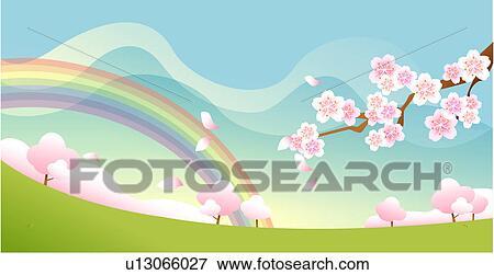 失量图库 - 景色, 春天, 风景, 背景;, 季节, 发生地点, 春天.