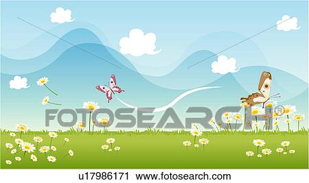 Clipart of scenery, springtime, landscape, background, season ...