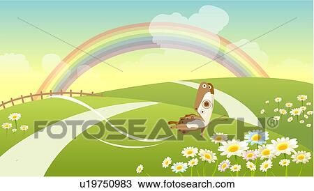 Drawing of scenic, springtime, scene, background, season, outdoors ...