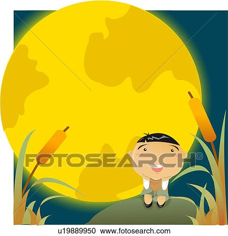 Stock Illustrations of Boy Sitting in Front of a Harvest ...