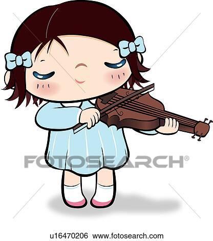 Boy Playing Violin Drawing Girl Playing Violin