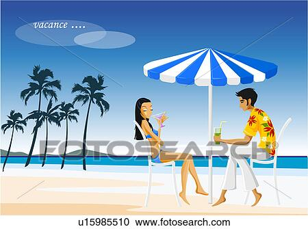 Stock Illustrations Of Young Couple Drinking Under Beach Umbrella