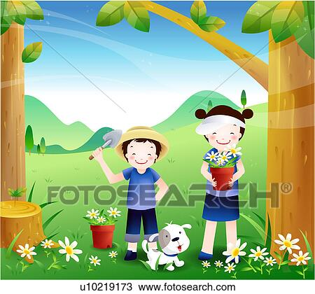 Drawing of Children gardening u10219173 - Search Clipart ...