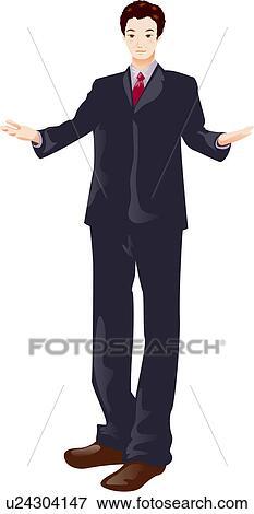 Stock Illustration - mann, in, a, anzug, mit, seine, gibt ...