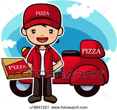 Clipart of distributor, pizza, deliveryman, carrier, uniform ...