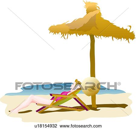 Sonnenliege clipart  Clip Art of deck chair, seaside, seashore, beach, sky, summer ...