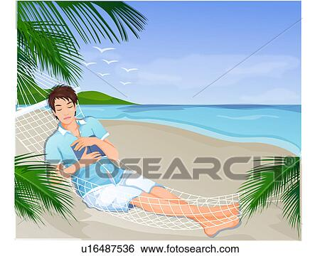 Stock Illustration Of Man Sleeping In A Hammock U16487536