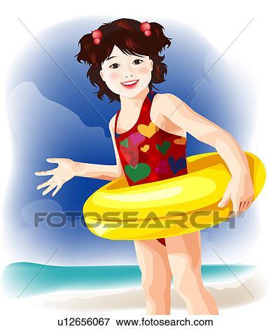 Stock Illustration of Little Girl in Swimming Tube ...  Little